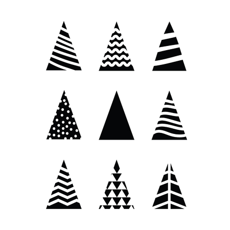 Simple set black Christmas trees triangular shape on white background. Different design trees for decoration New Year or Christmas Stock Illustratie