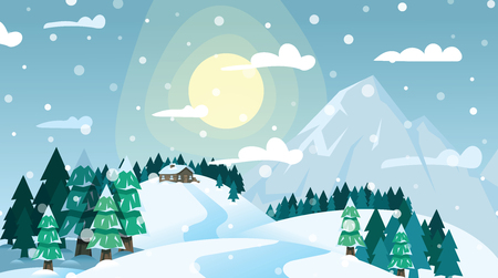 Winter landscape house on snowy coniferous forest and mountains on blue sky and bright sun background. Winter forest, house on snowy mountain. Merry Christmas and New Year concept Stock Illustratie