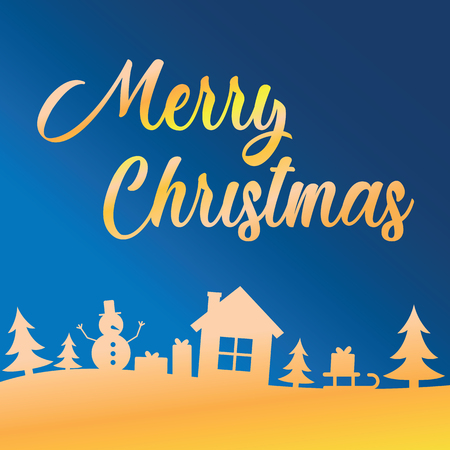 Greeting card with lettering Merry Christmas on blue sky over trees, house, snowman and gifts. Gretting with Merry Christmas and Happy New Year holiday.