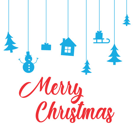 Gretting with Merry Christmas and Happy New Year holiday. Greeting card with lettering Merry Christmas on white background with trees, house, snowman and gifts