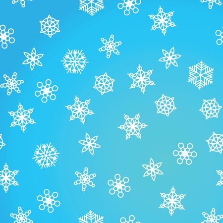 Winter pattern snowfall and white snowflakes on blue background. New Year and Christmas pattern with snowfall, blizzard, snowflakes, frost. Seamless background