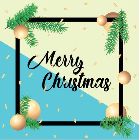 Merry Christmas greeting card in square frames and green spruce branches. Template postcard greeting with Merry Christmas and Happy New Year holiday 일러스트