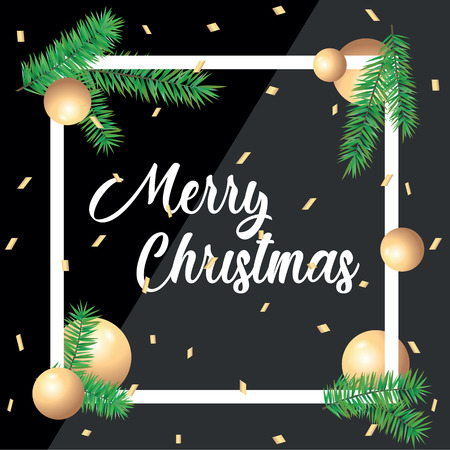 Merry Christmas greeting card in square frames and green spruce branches on black background. Template postcard greeting with Merry Christmas and Happy New Year holiday