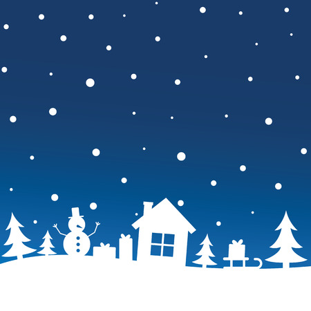 Winter night sky with snowfall over trees, house, snowman, sleigh with Christmas gift. New Year and Christmas concept, holiday, congratulations, greeting and wishes