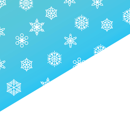 Template snowfall and winter snowflakes on blue background with space for Merry Christmas or New Year greeting text. Winter concept for greeting postcard, holiday, congratulations and wishes