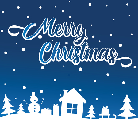 Merry Christmas greeting card on blue sky over snowy trees, house and snowfall. Gretting with Merry Christmas and Happy New Year holiday