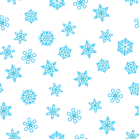 Winter pattern snowfall and blue snowflakes on white background. New Year and Christmas pattern with snowfall, blizzard, snowflakes, frost. Seamless background