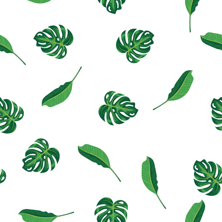 Green leaves of tropical plant, palm and tree on white pattern background. Seamless pattern green foliage monstera tree, natural background. Exotic rainforest plants, flora and nature concept Stock Illustratie