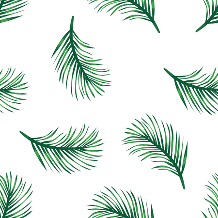 Green branches of tropical palm tree on white pattern background. Branches green palm tree, exotic plants in tropical rainforest. Seamless pattern leaves and foliage. Jungle flora and nature Stock Illustratie
