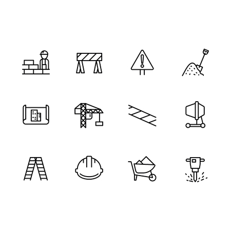 Simple set symbols building construction and engineering line icon. Contains such icon brick wall, worker, builder, tower crane, concrete mixer, drawing, plan, stairs, helmet, trolley jackhammer 일러스트
