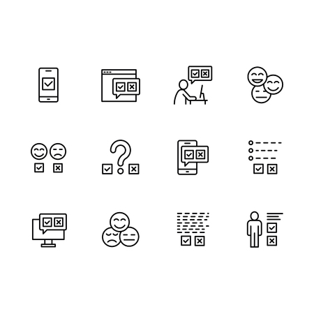 Simple set survey related on internet, social networks and mobile applications vector line icons. Contains such icons data survey, emotional opinion, questionnaire, rating, checklist, smile and more Stock Illustratie