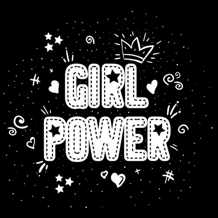 Girl power with crown lettering with on black background. Woman motivational slogan and phrase. Feminist quote. Feminist saying. Stylish girly print for poster, stickers, patches