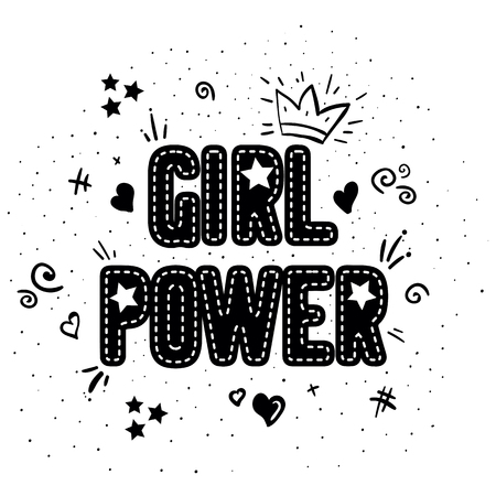 Girl power with crown lettering with on white background. Woman motivational slogan and phrase. Feminist quote. Feminist saying. Stylish girly print for poster, stickers, patches