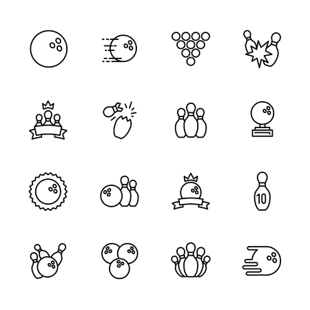 Simple set symbols bowling, kegling and billiards outline icon. Contains such icon bowling ball, skittles, bowls, ninepins, strike, win, championship, victory and other.