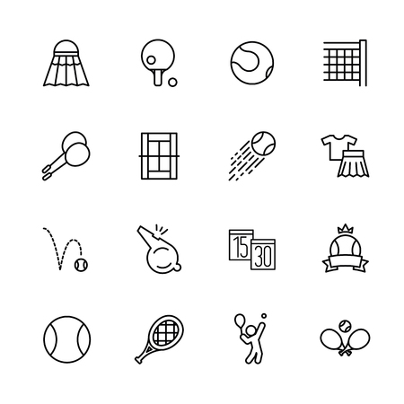 Simple set symbols tennis, badminton and pin pong. Contains such icon birdies, shuttlecock, racket, ball, playing field, whistle, net, victory championship game score