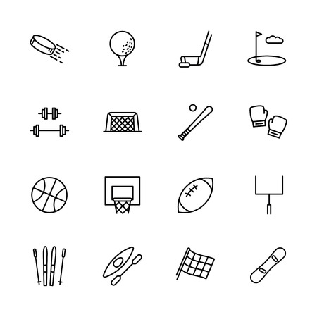Simple set symbols sport and activity. Contains such icon hockey, golf, puck, stick, bodybuilding, barbell, baseball, boxing skiing snowboarding kayaking basketball Stock Illustratie