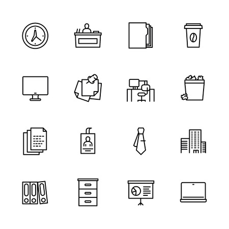 Simple set symbols business office and work place. Contains such icon time and hours, business folders and paper documents, computer and laptop