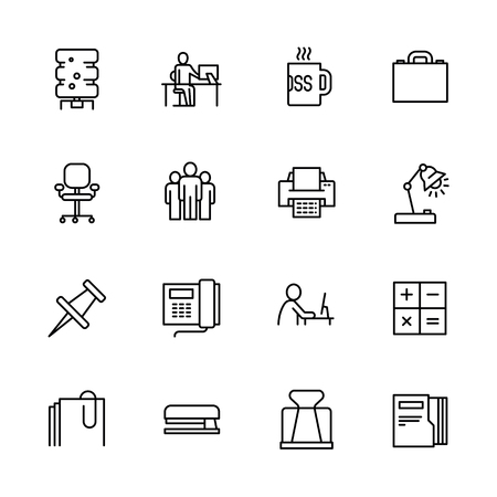 Simple set symbols business, career and teamwork. Contains such icon business office, water cooler, workplace, boss cup, briefcase, team, telephone, computer, paper documents