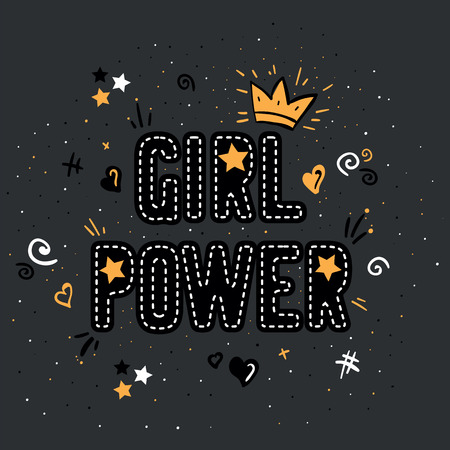 Girl power with crown lettering with on gray background. Woman motivational slogan and phrase. Feminist quote. Feminist saying. Stylish girly print for poster, stickers, patches