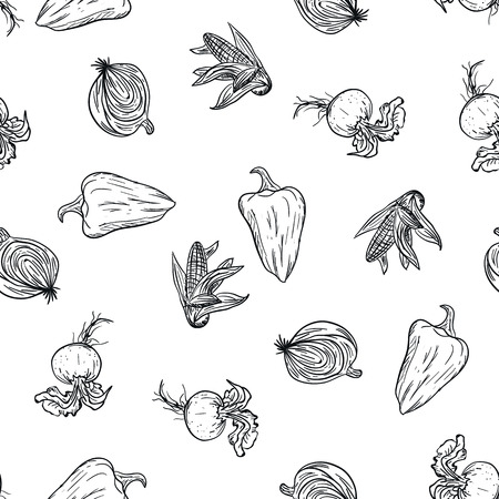 Vegetable doodle pattern hand drawing on white background. Doodle drawing vegetable pattern. Ripe autumn crop and farming harvest. Market garden background. Fitness diet and healthy nutrition Stock Illustratie