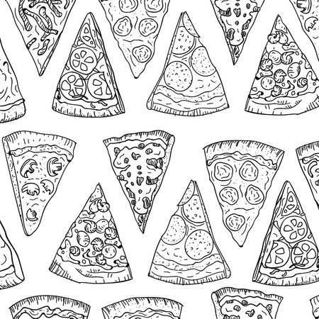 Pattern pizza slices hand drawing in doodle style isolated on white background. Doodle pattern drawing cut pizza top view. Italian cuisine and pizzeria design