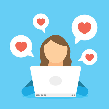 Woman chatting in social network by laptop and receiving like heart, subscribers and friends. Woman blogging in internet, web site and media network. Communication and online conversation in chat Stock Illustratie