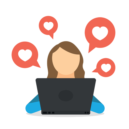 Woman blogger using social network by notebook and getting like heart, subscribers and friends. Woman blogging in internet chat, web site and media network. Communication, surfing and online browsing Stock Illustratie