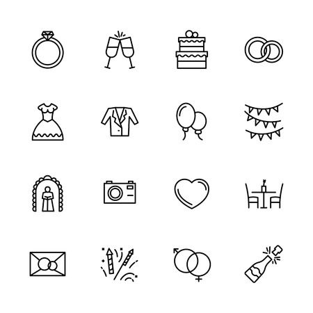 Simple icon set engagement and wedding in church. Contains such symbols love, ring, bride wedding dress and groom suit, photo video camera, salute, champagne, invitation, celebration and more Stock Illustratie