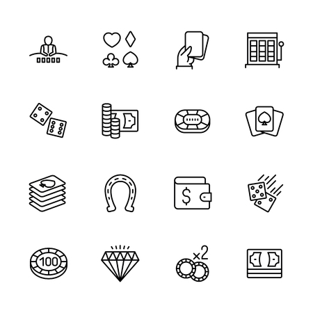 Simple icon set casino, gambling and card games. Contains such symbols diller, player, dice, cards, suit, chips, money bets jackpot slot machines Stock Illustratie