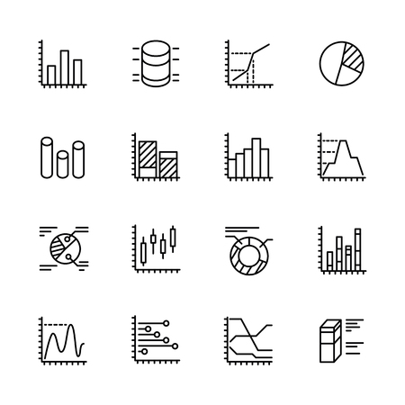 Simple icon set charts and diagrams. Contains such symbols business statistics, marketing research and economic analysis. Financial trading and banking