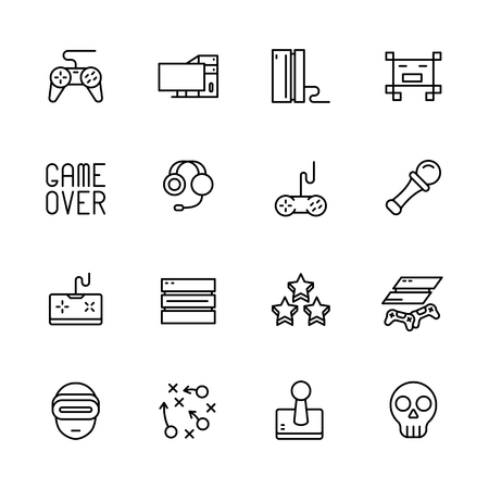 Simple icon set computer games. Contains such symbols game joystick, console, server, gaming equipment, strategy, virtual reality glasses, remote controller and more