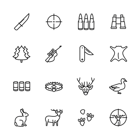 Simple icon set forest hunting. Contains such symbols knife, bullets, ammunition, hunting rifle, weapon, binoculars, wood, trophy, duck hare deer target sight and more Ilustracja