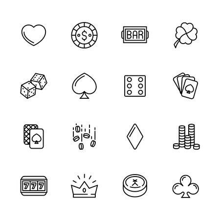 Simple icon set casino, gambling and card games. Contains such symbols dice, cards, suit, chips, money, bets, jackpot slot machines Stock Illustratie
