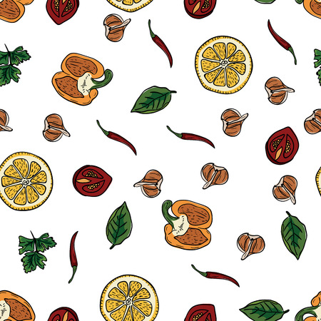 Food pattern hand drawing in doodle style. Doodle drawing vegetable pepper, lemon, cherry tomato, garlic, herbs and seasonings for cooking food. Kitchen seamless pattern. Seasonal harvest