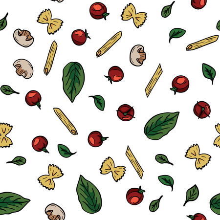 Doodle drawing cherry tomatoes, mushrooms, pasta, basil, herbs seamless pattern. Food pattern background. Cooking food concept. Ingredient for italian pasta. Diet and nutrition