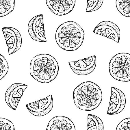 Hand drawing lemon slices in doodle style on white background. Lemon seamless pattern doodle drawing. Ripe garden fruits. Fruit doodle pattern 일러스트
