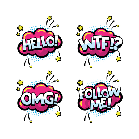 Retro comic speech bubbles set with text expression HELLO, WTF, OMG, FOLLOW ME. Words for comics, blogging, streaming and following in social networks and vlog in internet media. Pop art style