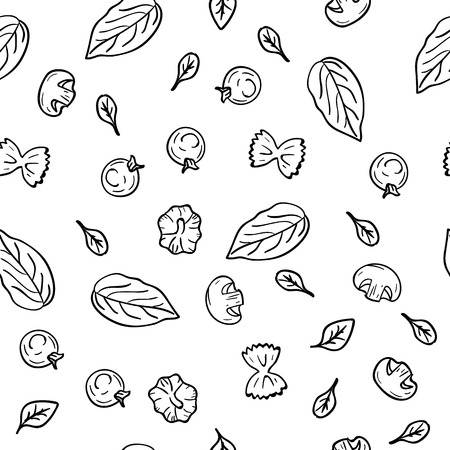 Hand drawing pattern herbs, garlic, champignons, tomato cherry, pasta in doodle style on white background. Doodle drawing vegetable and food ingredients. Kitchen textile. Diet and nutrition concept