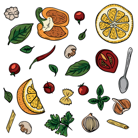 Vegetables, herbs, spices for italian pasta hand drawing in doodle style on white background. Doodle drawing vegetable and food ingredients. Italian cuisine. Cooking food, healthy diet and nutrition Stock Illustratie