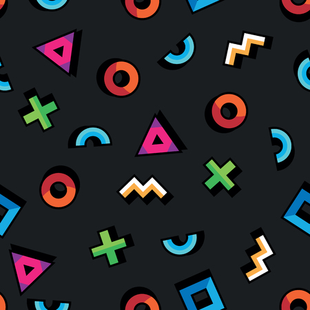 Geometric pattern in abstract style. Seamless pattern with geometric figures. Triangle, circle, square, curved lines on black background. Vektorové ilustrace