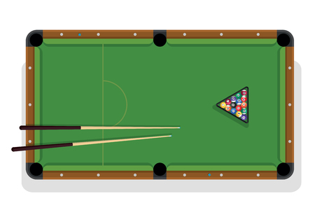 Billiard table, pool stick and billiard balls for game. Pool table with triangle, balls and cua top view. Illustration