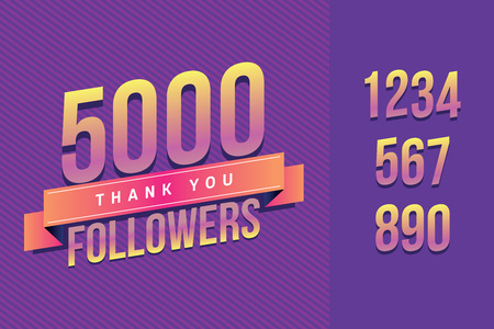 5000 followers thank you illustration for social network friends, followers, web user. Greeting card for celebrate subscribers or followers and likes in social media.