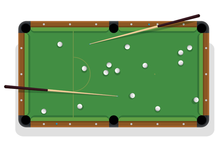 Billiard table, cue and pool balls for game. Billiard table with white balls and two cua top view Stock Illustratie