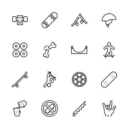 Simple icon set skateboarding and youth sport. Contains such symbols skateboard, wheels, extreme sports, injuries, stunts, skills