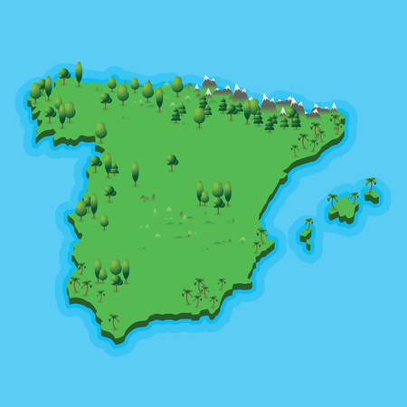 Spain map with geographic landscape on blue sea background. Illustration spanish map with nature landscape and blue sea