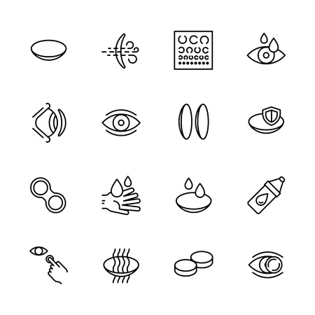 Simple icon set vision, eyesight, ophthalmology and eyes care concept. Contains such symbols contact lenses, vision diagnostics, eye drops and other Stock Illustratie