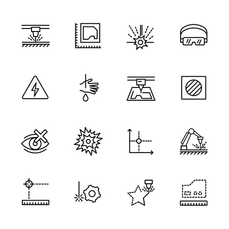 Simple icon set laser cutting and metal processing. Contains such symbols industrial machine, equipment, industrial lasers for metal working on factory