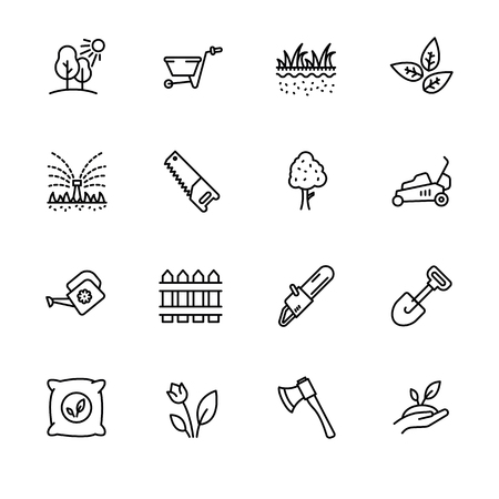 Icon set gardening, agriculture and horticulture. Contains such symbols gardening tools for growing plant in garden. Watering can, lawn, saw, ax, shovel and other Vektorové ilustrace