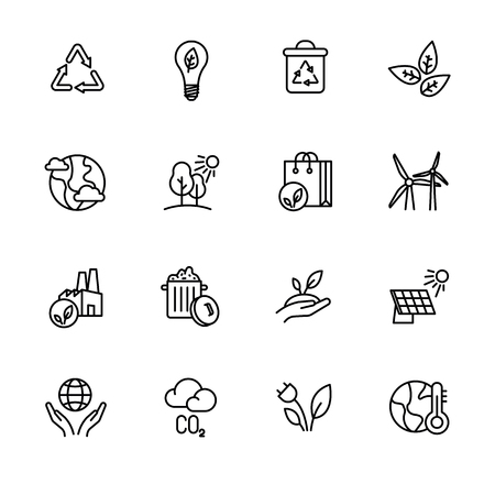 Simple icon set ecology and nature care. Protection and preservation of the environment. Conservation planet natural bio resources. Ecology, nature, energy, environment and recycle icons Vektoros illusztráció