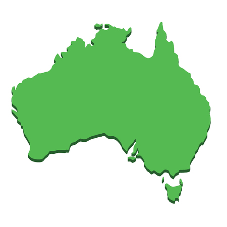 Australia map. Silhouette Australian continent isolated on white background. Geography and cartography countries of world in Pacific ocean. Flat design
